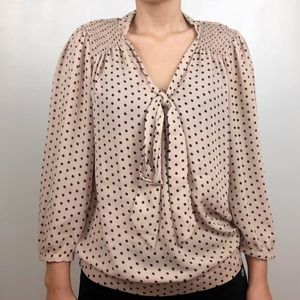 The Limited Tan/Beige Polka Dot  Tie Neck Blouse